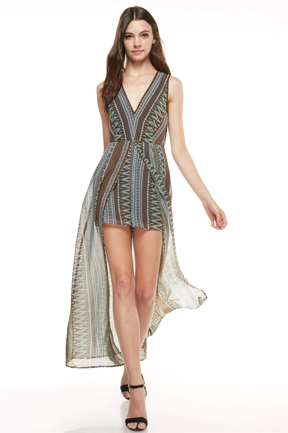 Print Romper with Tail - orangeshine.com