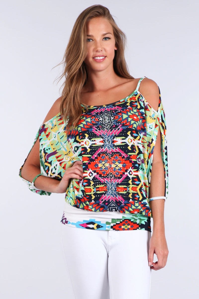 COLD SHOULDER BAND WAIST TOP - orangeshine.com