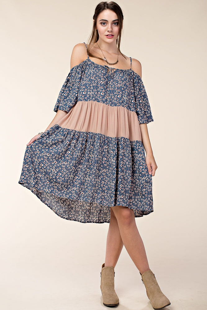 OFF SHOULDER PRINT BLOCK DRESS - orangeshine.com