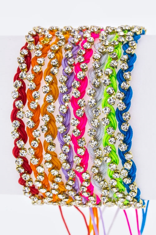 Braided Rhinestones Drawstring - orangeshine.com