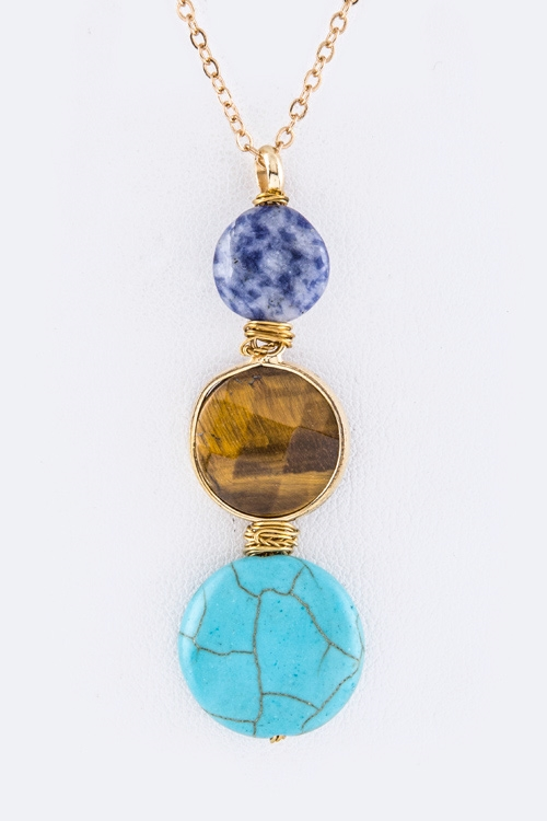 Semi Precious Disks Necklace - orangeshine.com