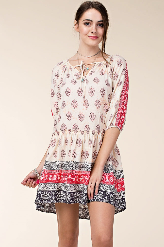 CHALLIS DRESS W/ BORDER PRINT - orangeshine.com