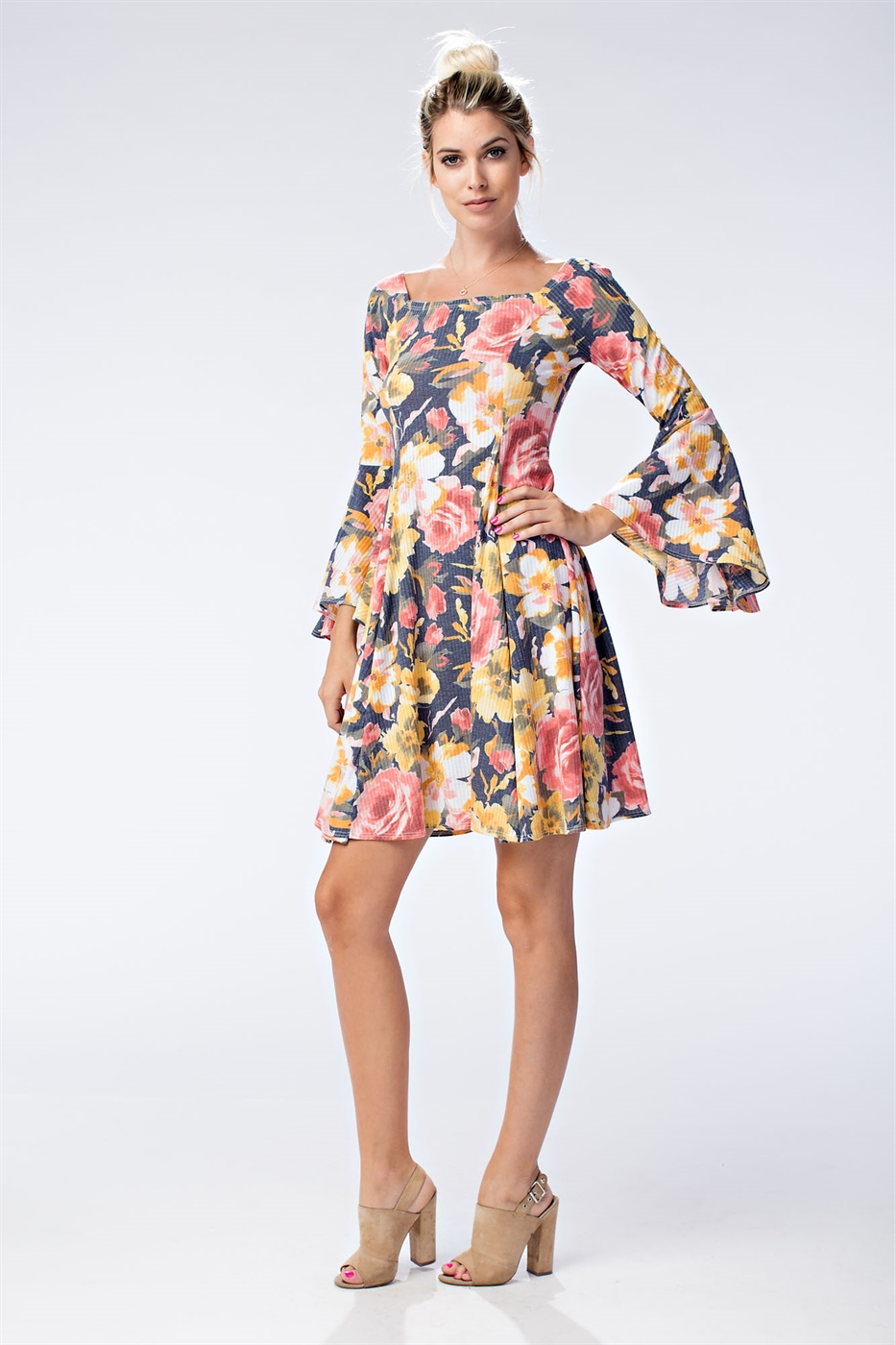 FLORAL BELL SLEEVE DRESS - orangeshine.com