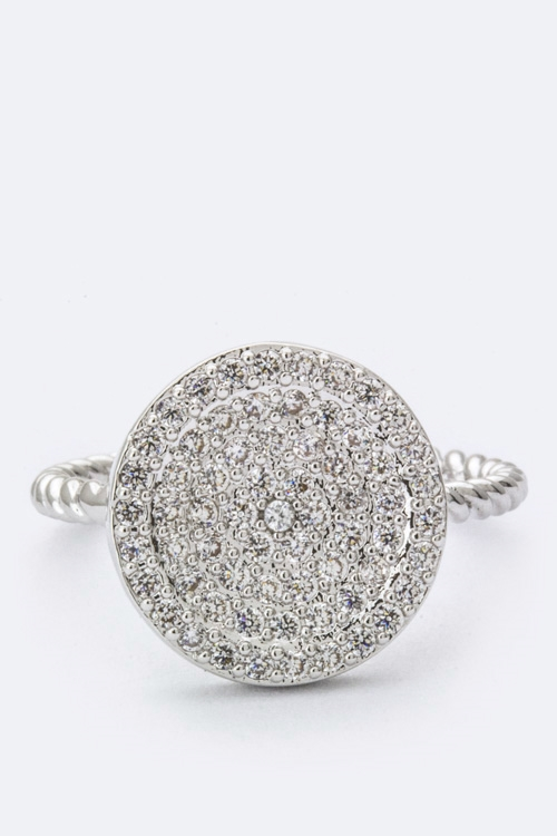 Paved CZ Disk Ring - orangeshine.com