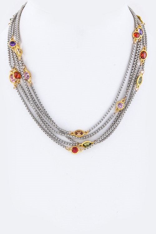 Layered CZ Necklace - orangeshine.com