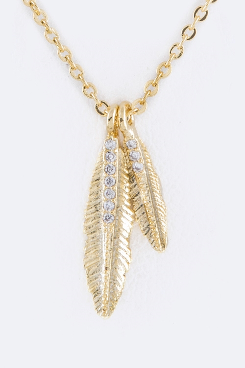 Paved CZ Feathers Necklace - orangeshine.com