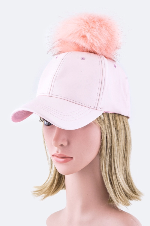 Pom Pom Fur Ball Fashion Cap - orangeshine.com