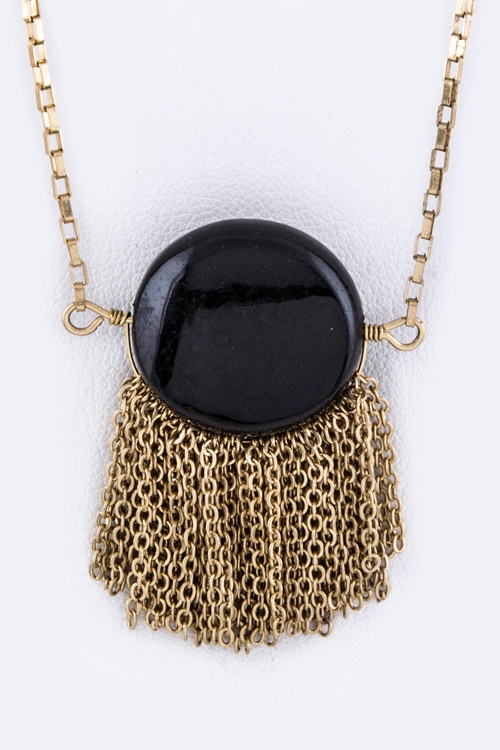 Round Stone  Fringe Necklace - orangeshine.com