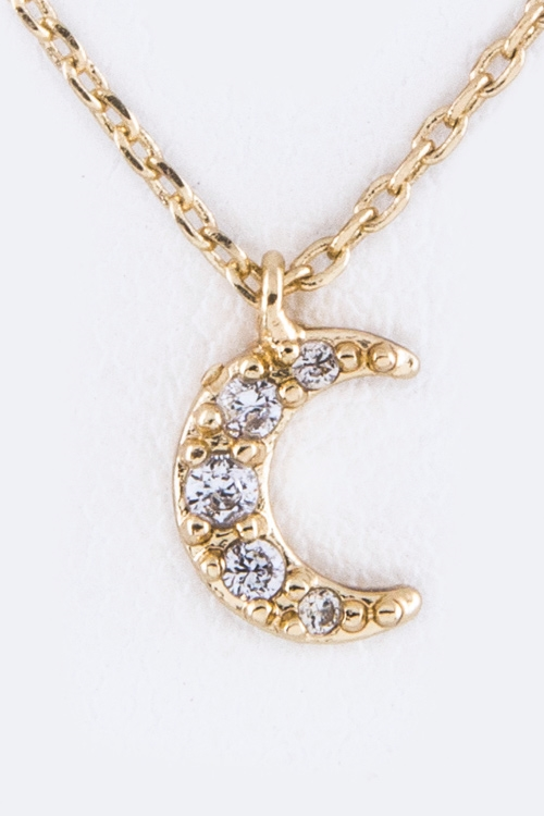 Petite CZ Crescent Necklace - orangeshine.com