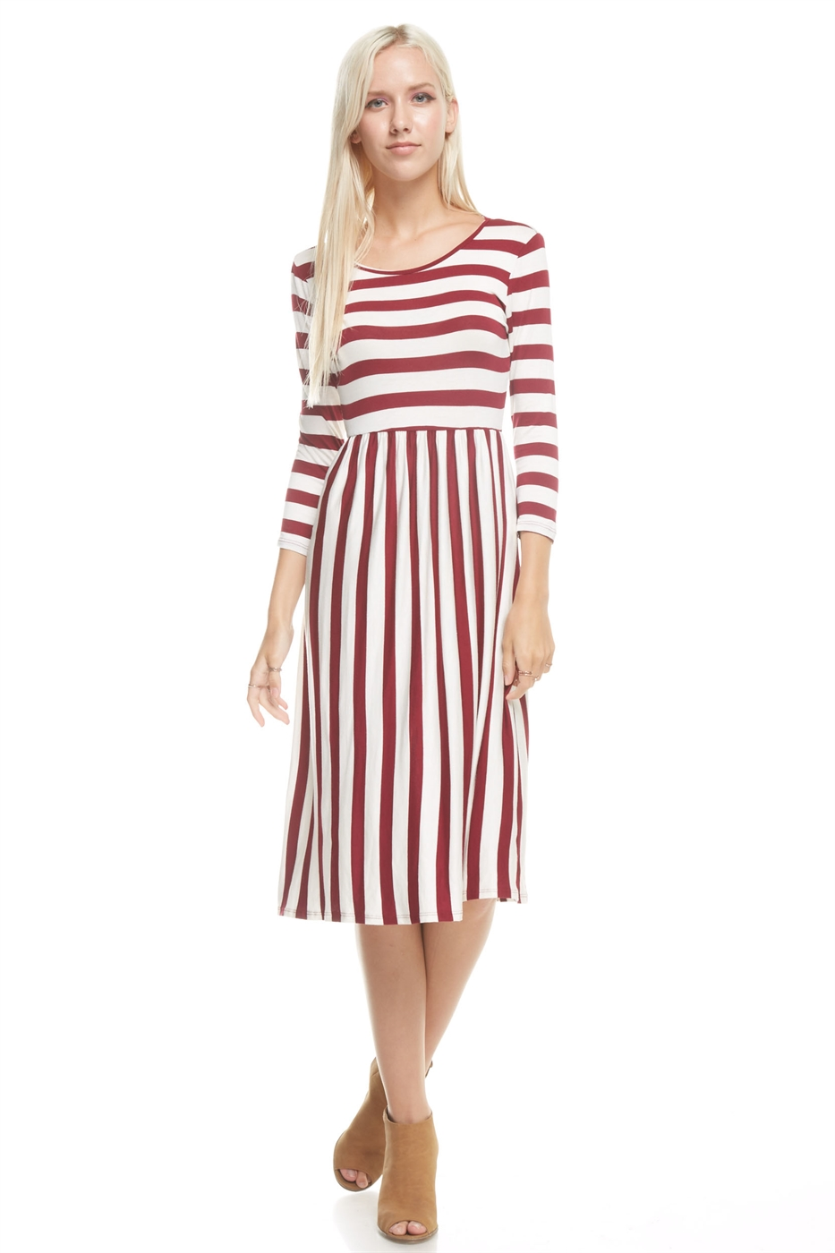 contrast striped midi dress - orangeshine.com