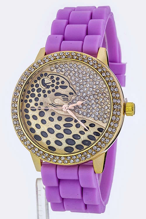 Leopard  Crystal Dial Watch - orangeshine.com