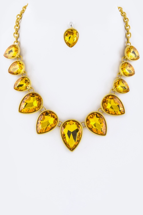 Crystal Teardrops Necklace Set - orangeshine.com
