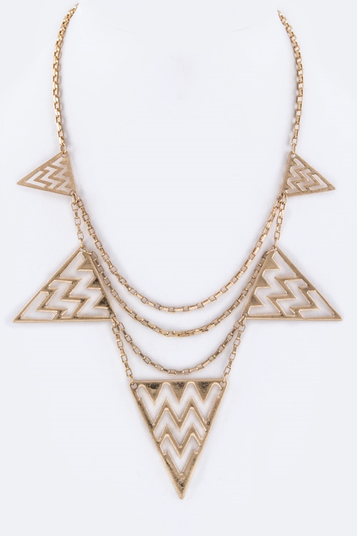 Chevron Triangles Necklace - orangeshine.com