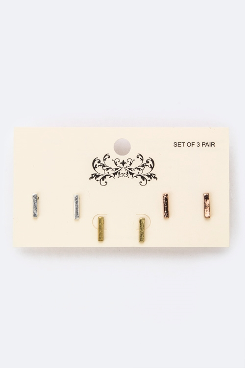 Tri-Tone Metal Bar Studs Set - orangeshine.com
