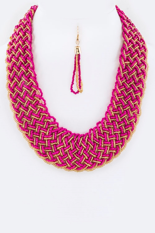 2 Tone Braided Seed Beads Neck - orangeshine.com