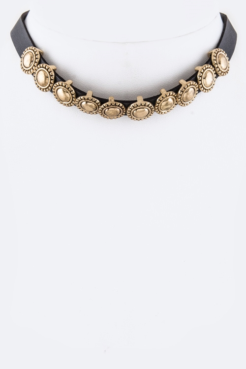 Metal Sliders Choker Necklace - orangeshine.com