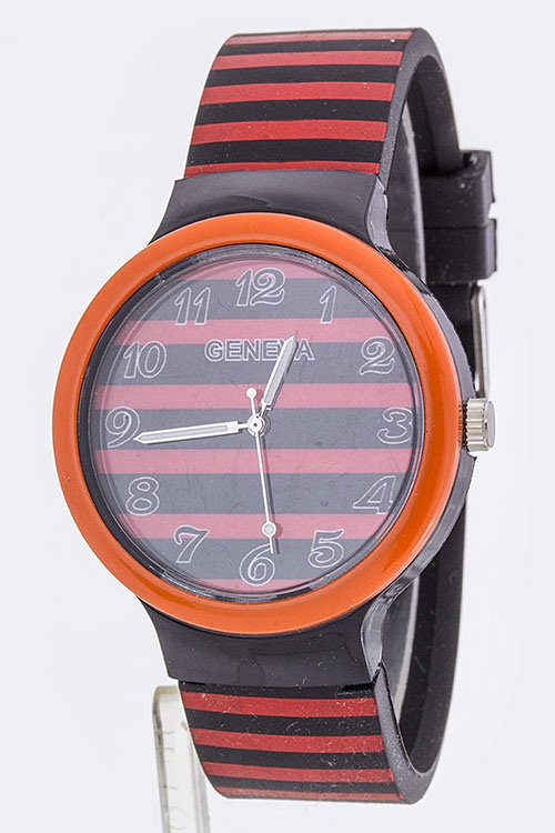 Horizontal Stripes Watch - orangeshine.com