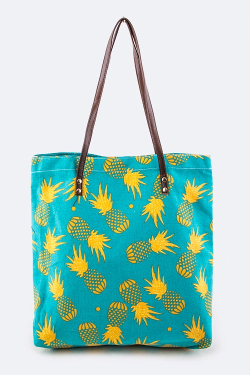 Pineapple Printed Canvas Tote - orangeshine.com