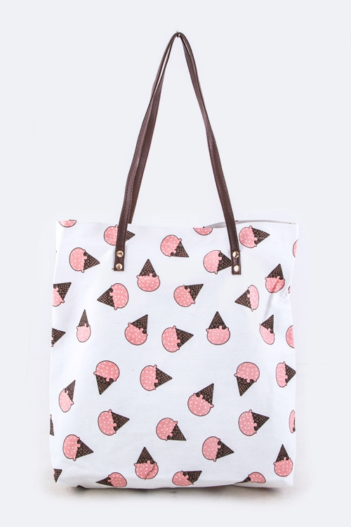 Ice Cream Printed Canvas Tote - orangeshine.com