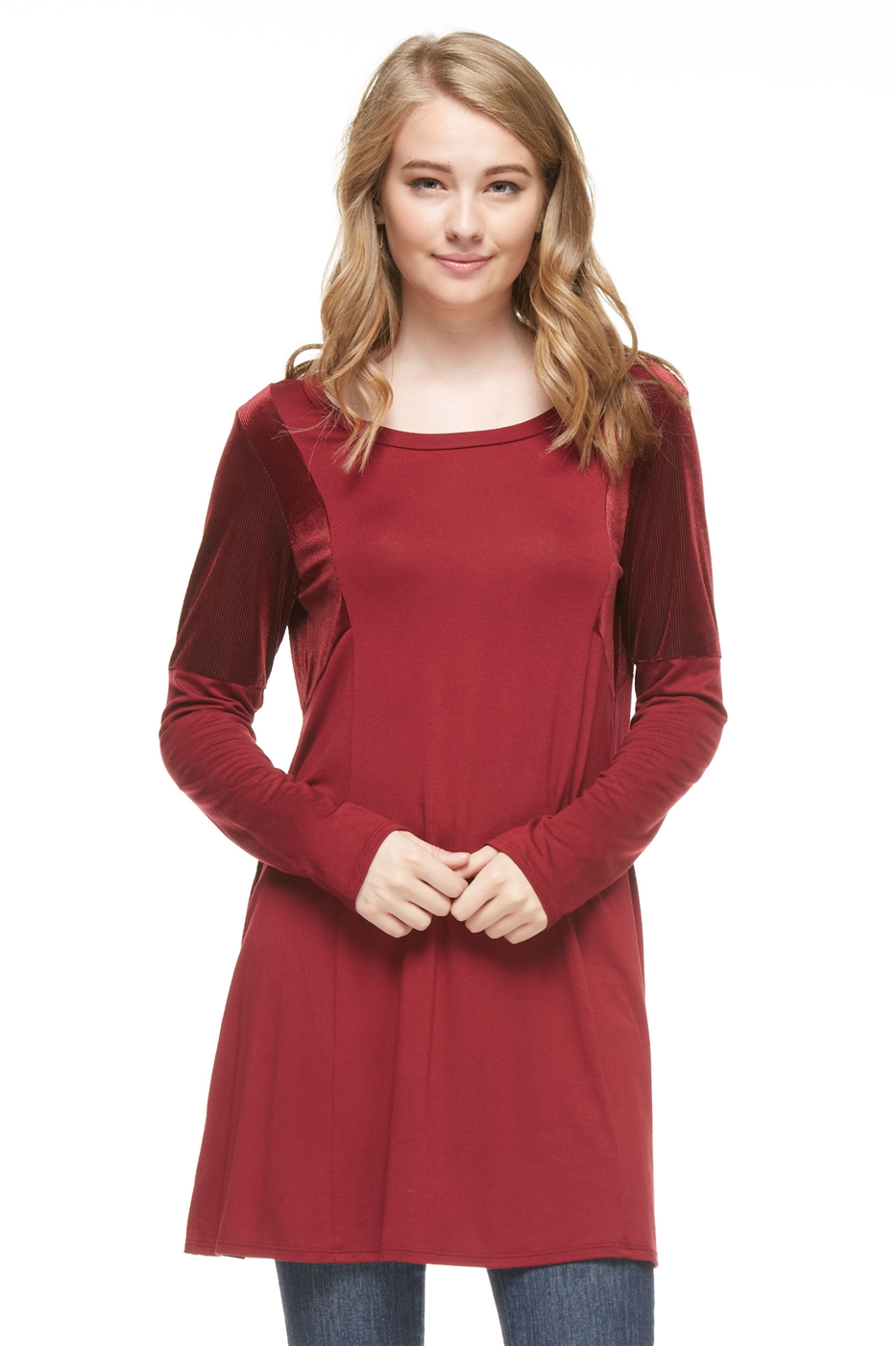 Two Tone Solid Tunic Top - orangeshine.com