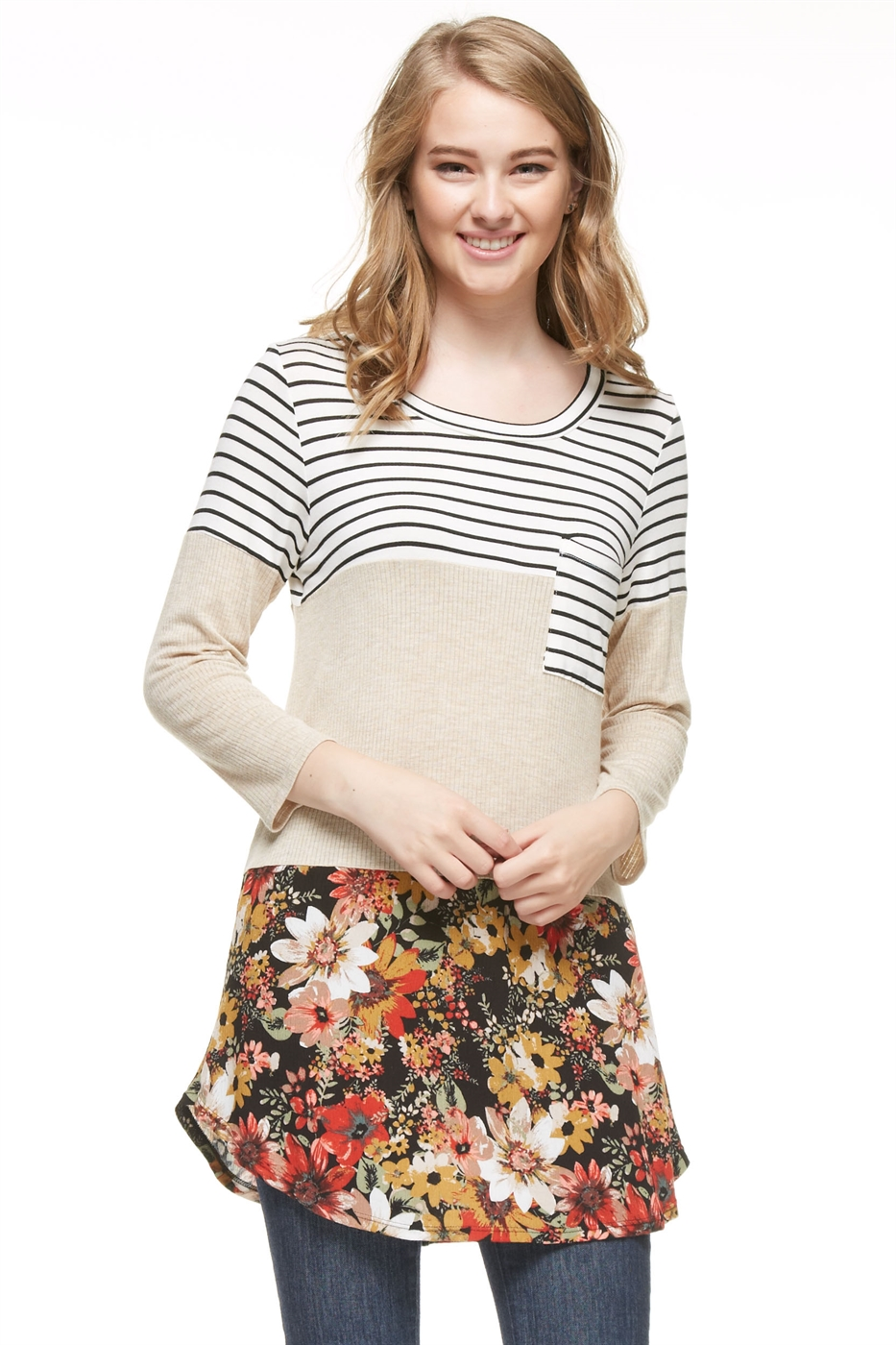 3/4Sleeve Stripe Flower - orangeshine.com