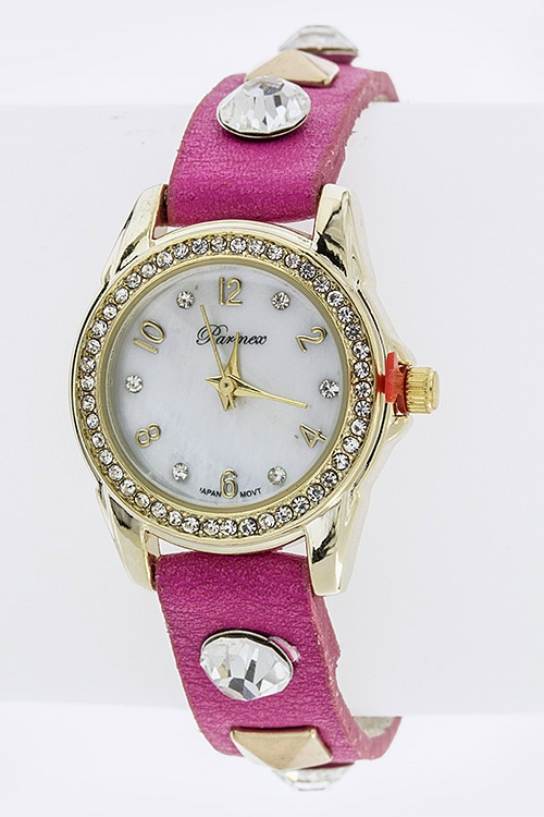 Crystal Leather Wrap Watch - orangeshine.com