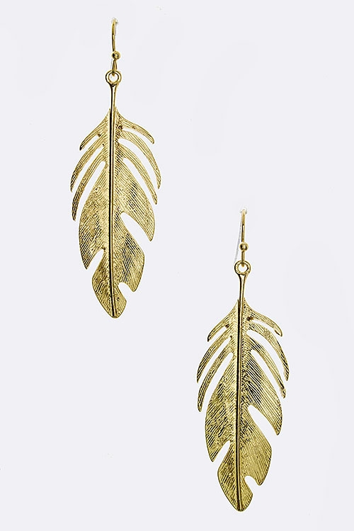 Cutout Leaf Textured Drop Earr - orangeshine.com