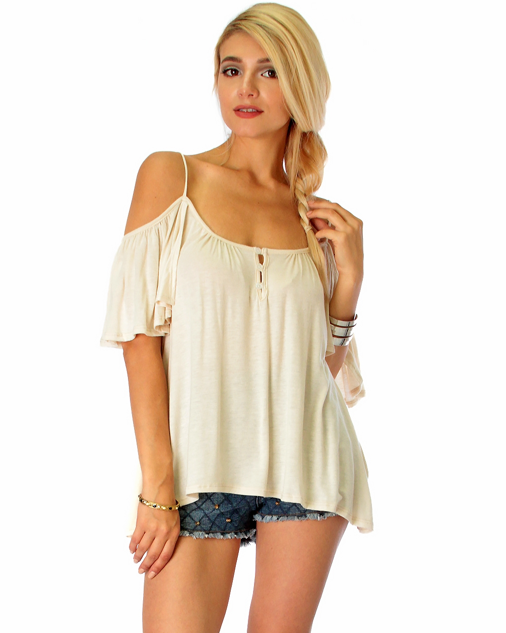 SUN KISSED SHOULDERS DRAPED T - orangeshine.com