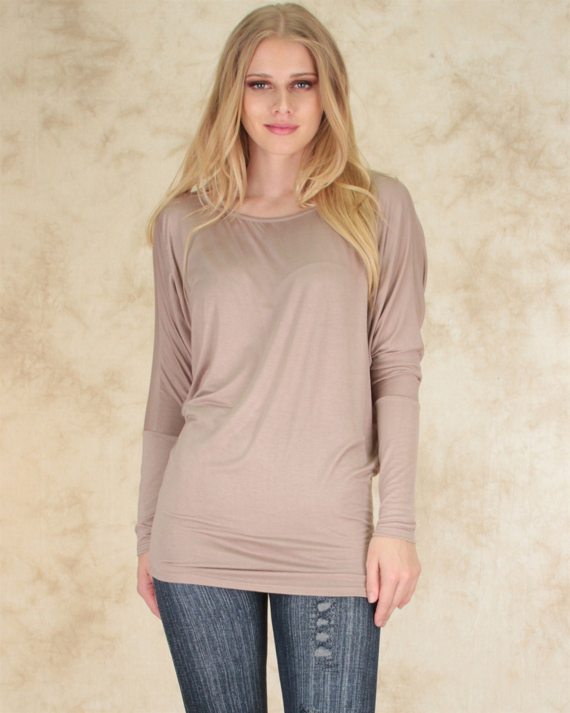 LONG SLEEVE DOLMAN TUNIC  - orangeshine.com