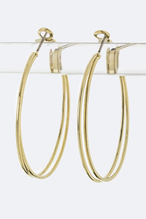 Layer Metal Hoop Earrings - M - orangeshine.com