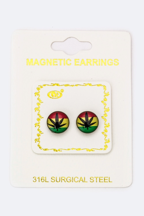 Rasta Weed  Magnetic Earrings - orangeshine.com
