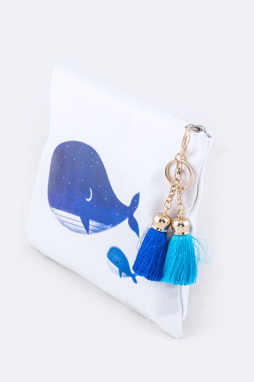 Night Whales Tasseled Pouch - orangeshine.com