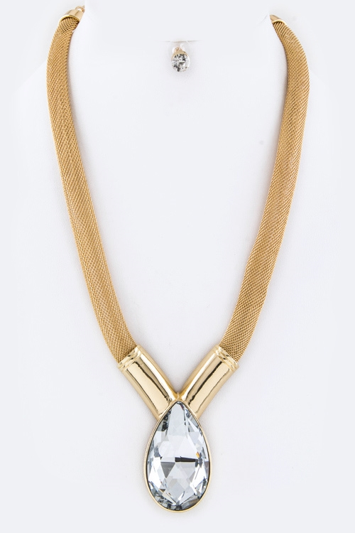 Crystal Teardrop Mesh Necklace - orangeshine.com