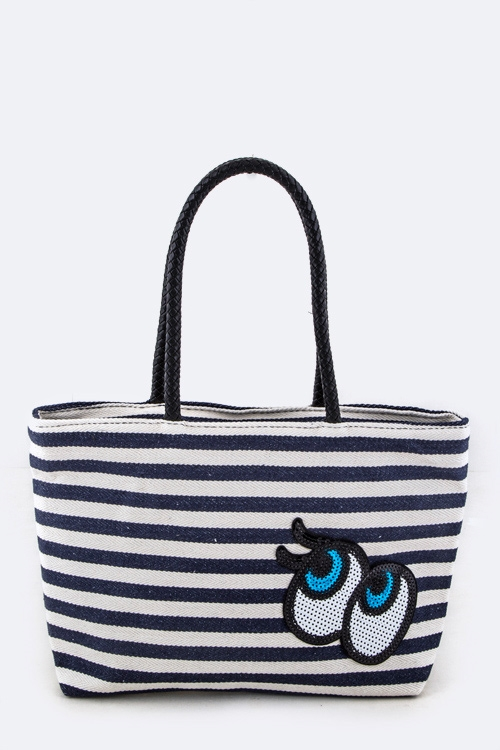 Eyes Checker Canvas Tote - orangeshine.com