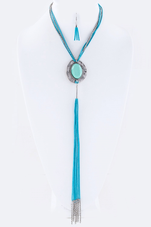 Concho Long Tassel Necklace  - orangeshine.com