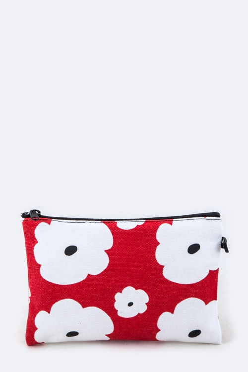 Flower Print Mini Canvas Pouch - orangeshine.com