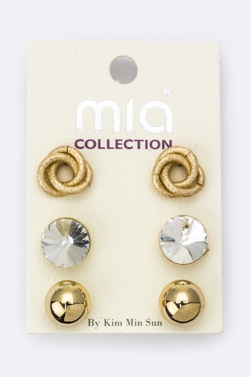 Crystal  Love Knot Studs Set - orangeshine.com