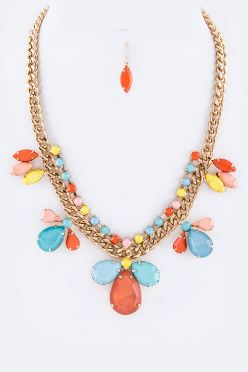 Mix Stones Statement Necklace  - orangeshine.com