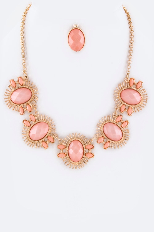 Oval Stones Statement Necklace - orangeshine.com