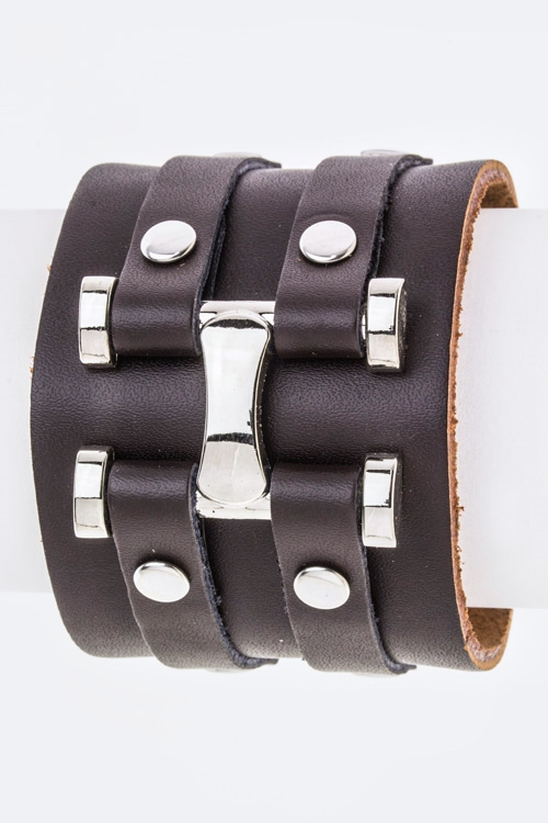 Metal Hinged Leather Cuff - orangeshine.com