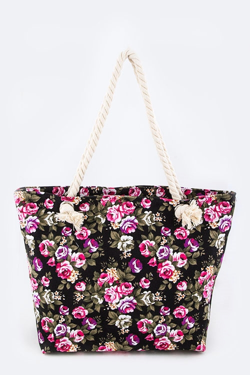 Rose Print Fashion Tote - orangeshine.com