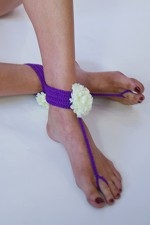 Purple and White Flower Anklet - orangeshine.com
