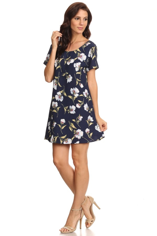 Short Flower Print Dress - orangeshine.com