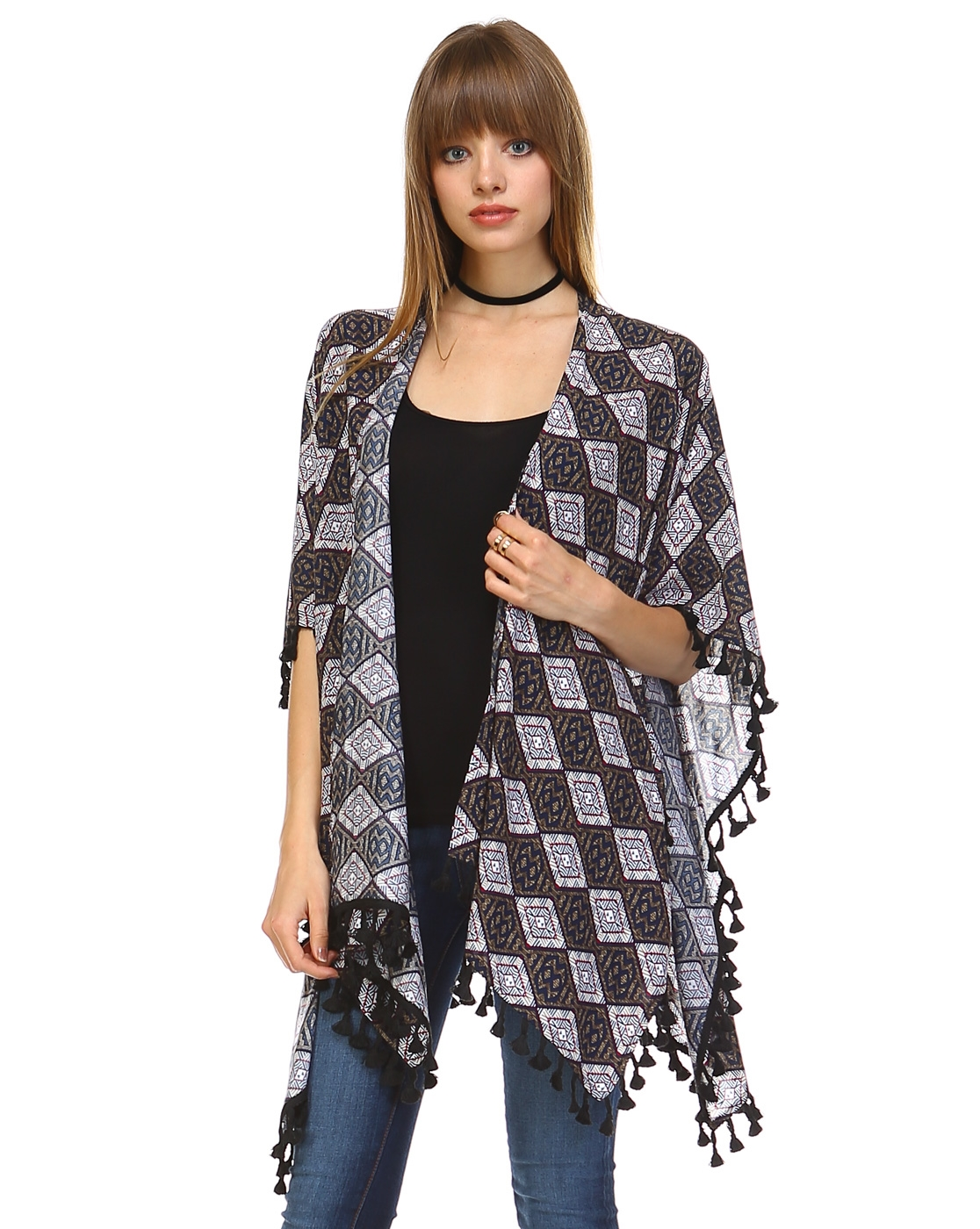 MULTI-COLOR TASSEL CARDIGAN - orangeshine.com