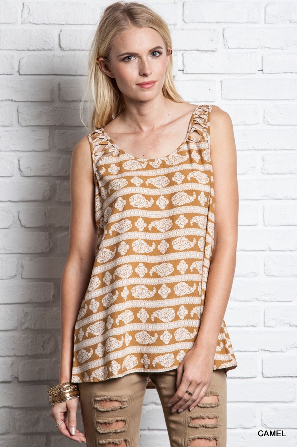 CASUAL PRINT LOOSE FIT TANK - orangeshine.com