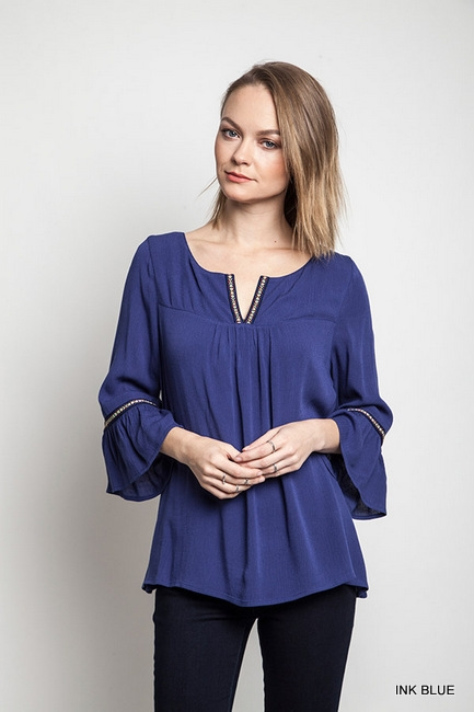 BELL SLEEVE TRIMMED TOP - orangeshine.com