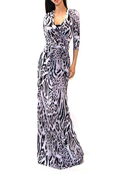 ANIMAL PRINT MAXI DRESS - orangeshine.com