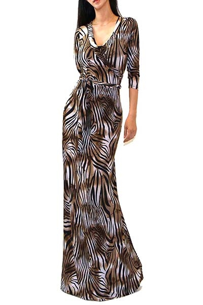 BROWN ANIMAL PRINT MAXI DRESS - orangeshine.com