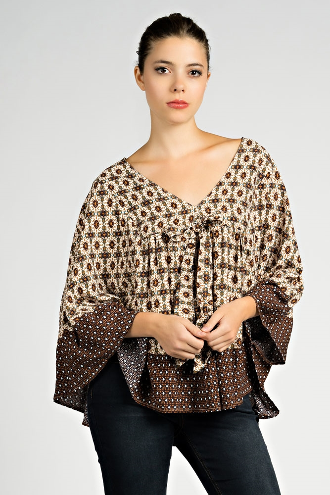 V NECK CAPE TOP WITH CONTRAST - orangeshine.com