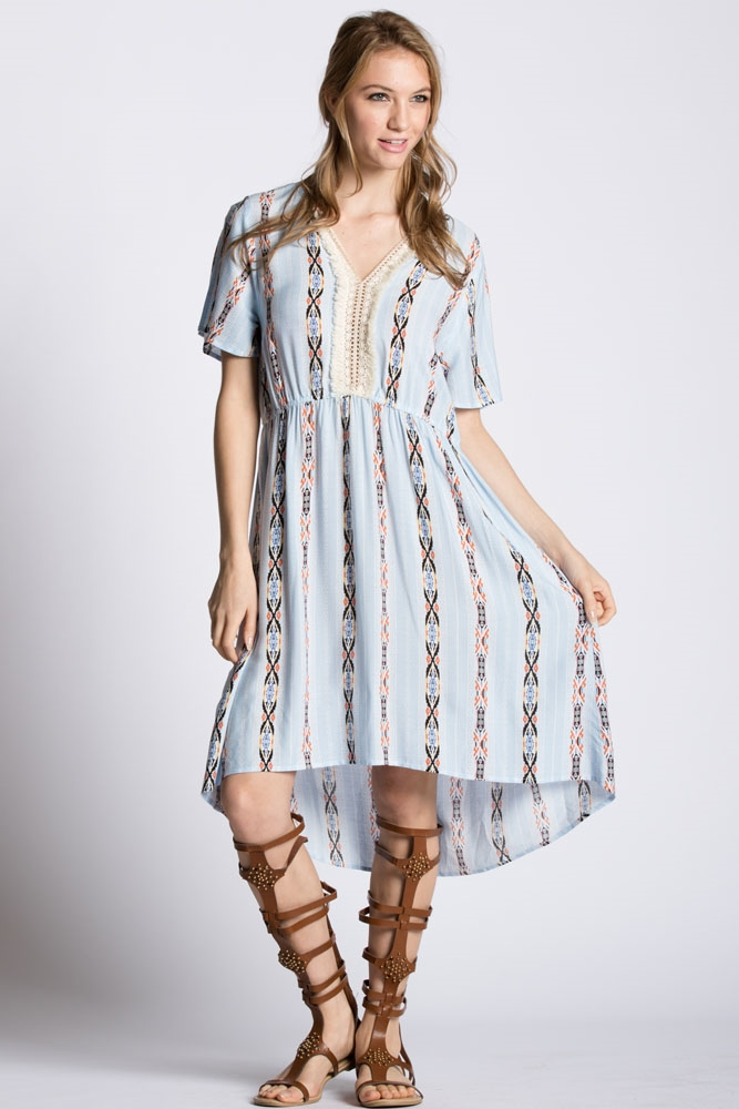 OPEN SLEEVE PRINT DRESS  - orangeshine.com